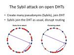 the sybil attack on open dhts