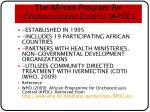 the african program for onchocerciasis control apoc