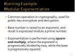 running example modular exponentiation