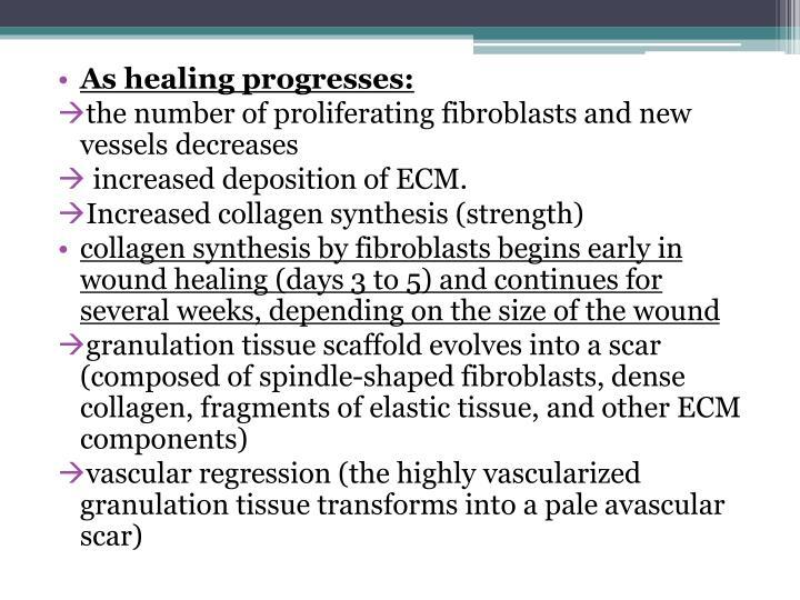 As healing progresses: