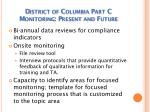 district of columbia part c monitoring present and future