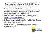 burgerparticipatie bibliotheken
