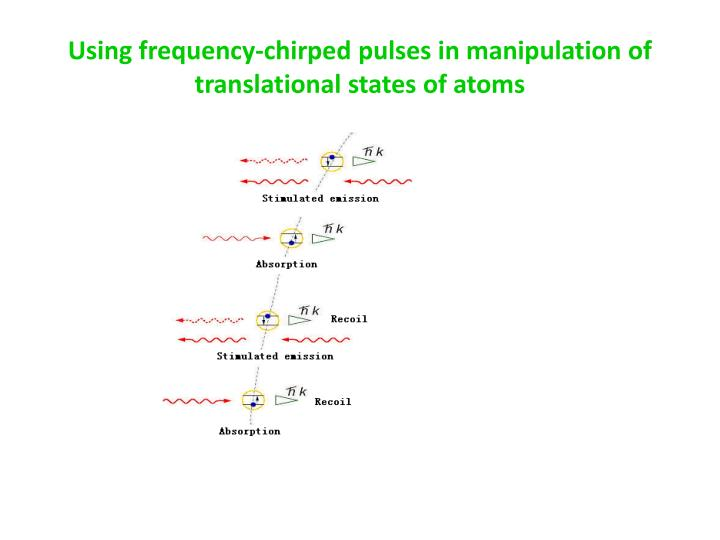 Using frequency-chirped pulses in manipulation of translational states of atoms