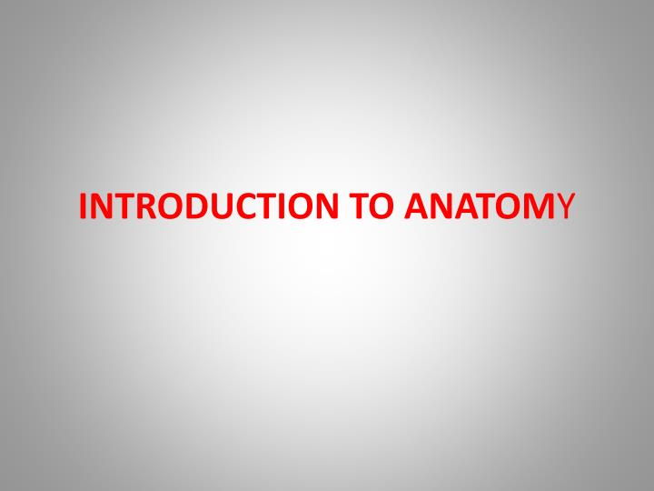 introduction to anatom y n.