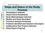 steps and status of the study process