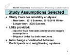 study assumptions selected