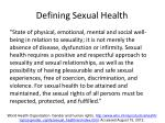 defining sexual health