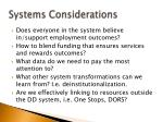 systems considerations