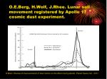 o e berg h wolf j rhee lunar soil movement registered by apollo 17 cosmic dust experiment