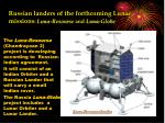 russian landers of the forthcoming lunar missions luna resourse and luna globe