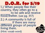 d o r for 5 19