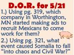d o r for 5 21