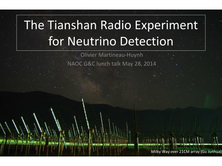 the tianshan radio experiment for neutrino detectio n n.