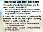 particles we care about at colliders