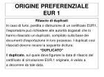 origine preferenziale eur 11