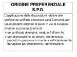 origine preferenziale s p g