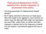 peak ground displacement pgd obtained from double integration of acceleration time series