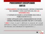 procedimenti disciplinari art 81