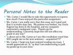 personal notes to the reader