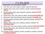 f 2 pre quiz