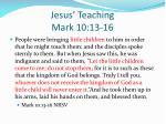 jesus teaching mark 10 13 16