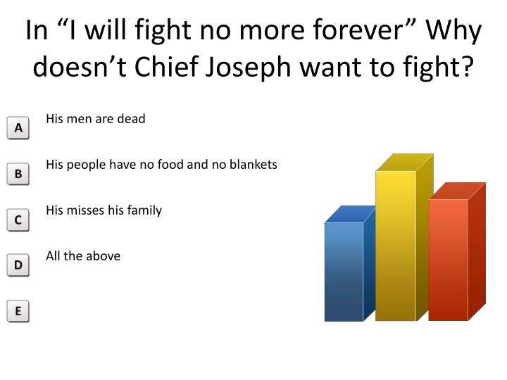 in i will fight no more forever why doesn t c hief joseph want to fight n.