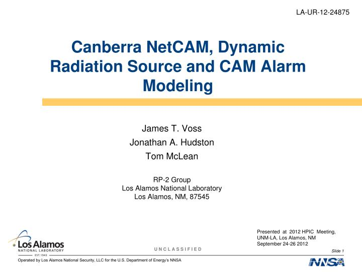 canberra netcam dynamic radiation source and cam alarm modeling n.