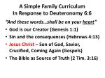 a simple family curriculum in response to deuteronomy 6 6