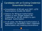 candidates with an existing credential streamlined structure