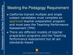 meeting the pedagogy requirement