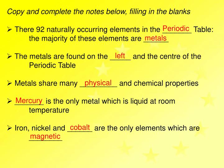 Ppt What You Need To Know What Is A Metal What Are The
