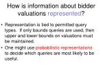 how is information about bidder valuations represented
