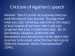 criticism of agathon s speech