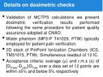 details on dosimetric checks
