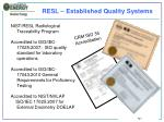 resl e stablished quality systems