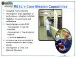 resl s core mission capabilities