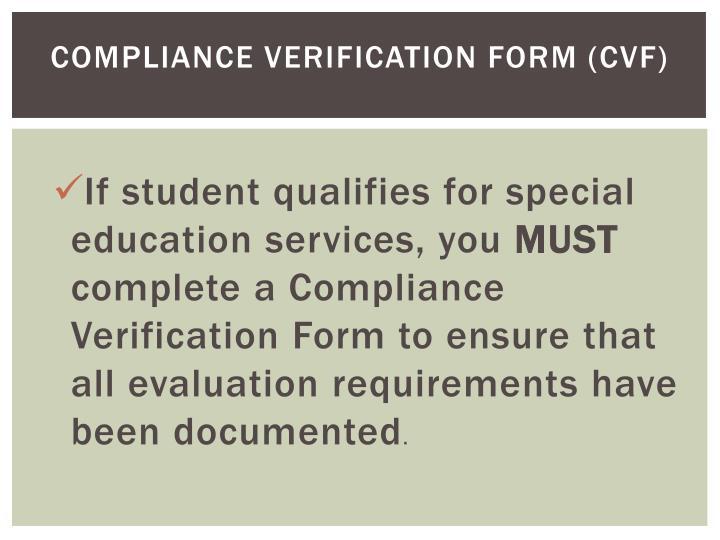 Compliance verification form cvf
