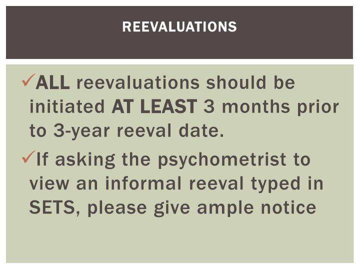 Reevaluations