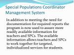 special populations coordinator management system1