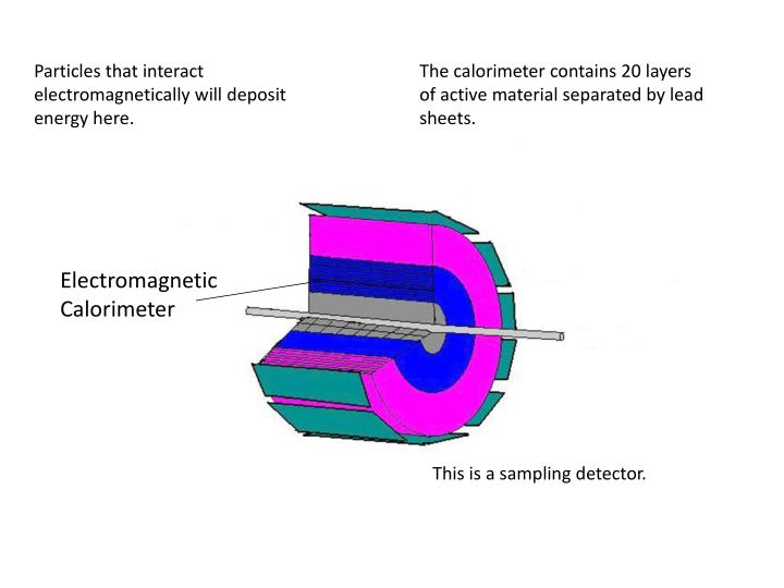 Particles that interact electromagnetically will deposit energy here.