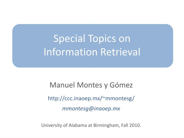 special topics on information retrieval n.
