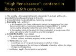 high renaissance centered in rome 16th century