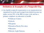 definition examples of a nonprofit org