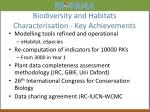 biodiversity and habitats characterisation key achievements
