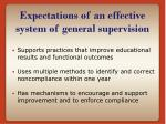 expectations of an effective system of general supervision