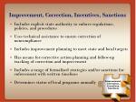 improvement correction incentives sanctions