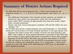 summary of district actions required