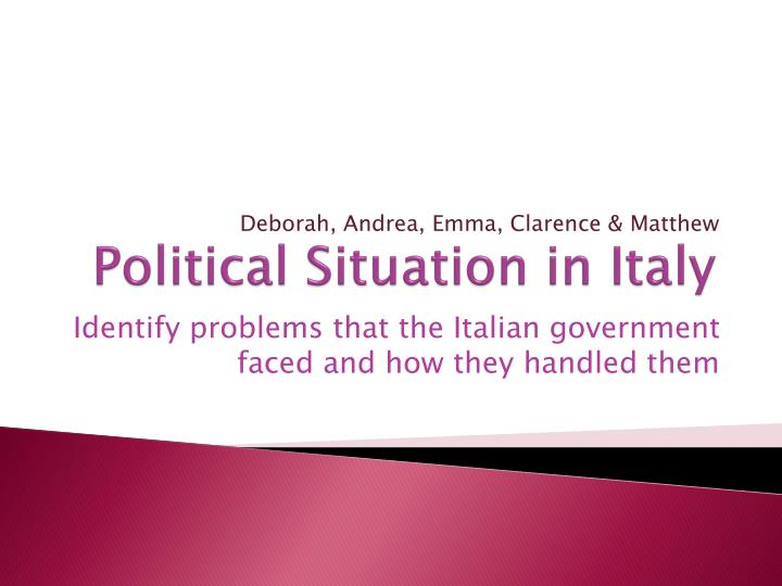 political situation in italy n.