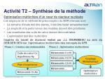 activit t2 synth se de la m thode