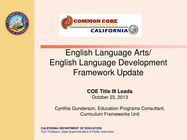 english language arts english language development framework update n.
